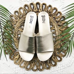 Brash Metallic Gold Slide Sandals